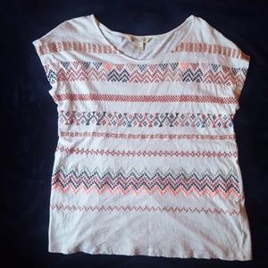 LUCKY BRAND tribal stitch embroidery shirt